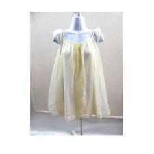 60s Vintage Nightie Size L Mini White Chiffon Lace Nylon Nightgown Negligee 50s