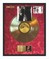 The Rolling Stones Sticky Goldene Schallplatte im Rahmen auf rotem Samt Hintergr