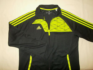 ADIDAS FULL ZIP BLACK W/GREEN STRIPES ATHLETIC JACKET WOMENS XL EXCELLENT COND.