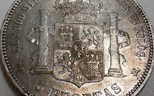 Spain 5 Pesetas, 1876, (76) like 8 Reales Silver 90 pct