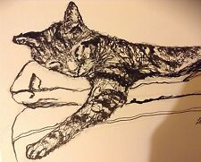 Cat, Animal, Art-Original Black Indian Ink Drawing signed.