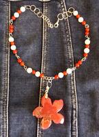 Collier argent agate corail et jade 37-43cm pendentif fleur étoile 47x45x10mm
