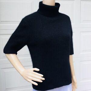 MINT!  Theory M 6 8 10 Black Angora Sweater Half Sleeve Turtleneck Pulllover