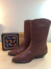 MOBILITY (LONY) Women's Brown Woven Leather Western Cowboy Boots-7.5M EUC!