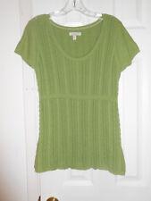 Aeropostale Green 100% Cotton Scoop Neck Knit Cap Sleeve Top Size XL GUC