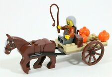LEGO MEDIEVAL HORSE & PUMPKIN CART PEASANT MINIFIGURE - MADE OF GENUINE LEGO