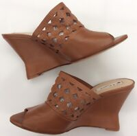 LK Bennett Diana Tan Wedge Leather Mules Summer Holiday Events Party Cruise
