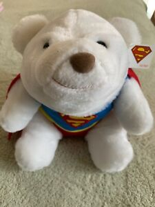 NEW GUND White Plush Polar Bear Red Blue Superman Cape Outfit Stuffed Animal Toy