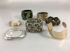 Lot of 8 Cuff and Bangle Bracelets Goldtone, Silvertone, Floral Unbranded