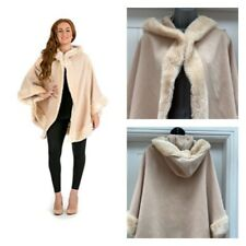 Aireefairee Cream Beige Neutral Faix Fur Lined Cape With Hood One Size