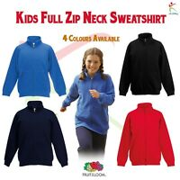 Classic 80/20 Kids Full Zip Neck Sweatshirt Jacket Boys Girls Jumper Sweat TOP