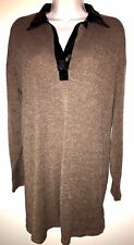 NWT ZARA Brown Black Faux Leather Collar Long Sleeve Dress sweater Size S O98