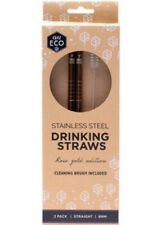 Ever Eco Plastic Free Rose Gold Stainless Steel Straws Straight 2 Pack + Brush