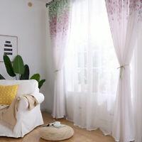 Curtain Wisteria Flower Printed Tulle Door Window Balcony Printed Living Room H
