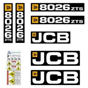 JCB 8026 ZTS decals - Repro decal Sticker kit