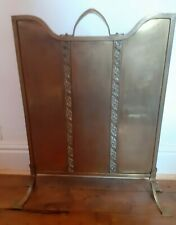 VINTAGE ARTS AND CRAFTS DECO STYLE ANTIQUE BRASS FIRE SCREEN GUARD