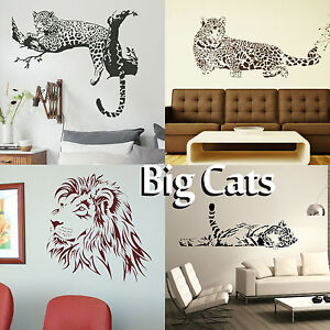 Big Wild Cat Wall Art Sticker Large Vinyl Transfer Graphic Decal Home Decor UK