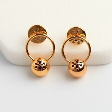 TORY BURCH 16K Gold Plated Logo Bead Drop Earrings w/ TB Dust Bag NEW On Card