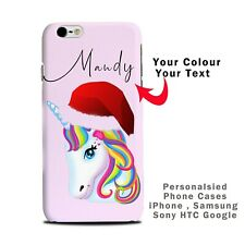 Personalised Xmas Unicorn Phone case with name printed iPhone Samsung HTC SONY