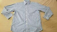 Mens Brooks Brothers Plaid Dress Shirt M Medium Blue Button Cotton
