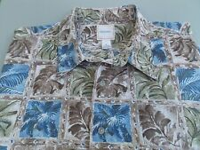 Saddlebred, Tropical Themed 100% Cotton Shirt, Size 3X, Blue/Green/Taupe EUC