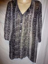 AVELLA Black grey snakeskin floaty pleated Top SZ 18