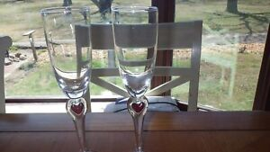 """Wedding toasting Champagne Flutes Red Heart stem NIB 2 7 ounce 9.5"""" tall"""