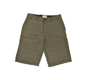 Hurley BARCELONA Brown White Plaid Side Hidden Leg Pocket Casual Men's Shorts