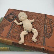 3.5� Vintage Bisque Porcelain Boy Doll Articulated Arms & Legs Japan Repair