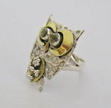 Otto Owl Ring - Solid 925 Sterling Silver, Brass & Citrine Gemstones - Size 7
