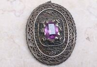 Retro Vintage Hand Crafted Sterling Silver Amazing Amethyst Women Pin Brooch
