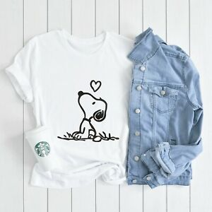 Snoopy love T-shirt Womens Cute