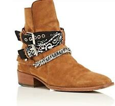Mens Chain Leather Block Chelsea Casual Western Cowboy Buckle Pointy Toe Boot