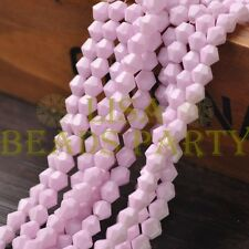 New 100pcs 6mm Bicone Faceted Lustrous Loose Spacer Glass Beads Bulk Light Pink