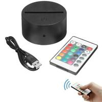 Acrylic Black LED Lamp 3D Night Light Base + USB Cable + Remote control NEW