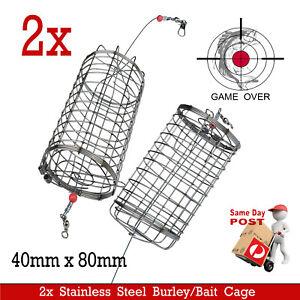 AMAZING STAINLESS STEEL BURLEY BERLEY BASKET CHUM BUCKET FOR FISHING ROD REELS
