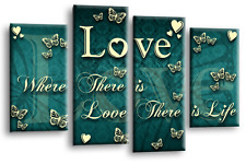 Love Family Quote Art Picture Teal White Grey Heart Split Panel Wall Canvas