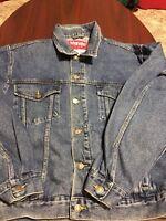 Vintage Wrangler Hero Blue Jean Denim Mens Trucker Jacket Large L