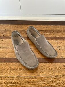 Men's Italian Suede Loafer Shoes Brown Size 45