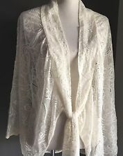 Vintage Vibe Sheer Antique White Lace Cocoon Jacket to fit Sizes 10 - 14