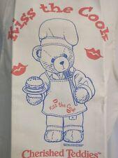 "Cherished Teddies Kiss the Cook 1999 full canvas Apron unused Enesco 28"" x 21"""