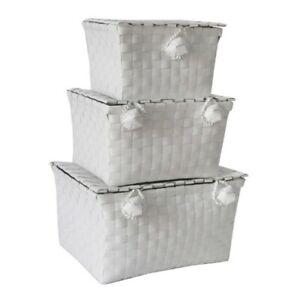 JVL Woven Lidded Storage Units, White, Set of 3