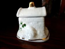 Carrigaline Pottery House / Cottage Trinket Box Shamrocks County Cork Ireland