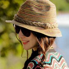 Damen Sommer Hut Frauen Stohhut Bunt geflochten Sonnenschutz Cap Mütze Sonnenhut