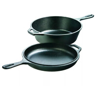 Lodge 3.2 Qt. Cast Iron Combo Cooker Oven Skillet Pan
