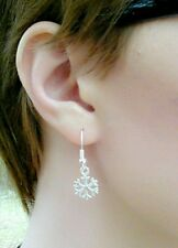 Snowflake Drop Dangle Christmas Earrings on 14K White Gold Filled French Hooks