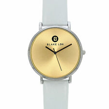 BLAKE LDN Unisex Quartz Steel Watch with Gold Sunray Dial and White Strap ##3