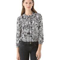 Diane Von Furstenberg Silk Blouse Size 4 Black White Atira Printed Long Sleeve