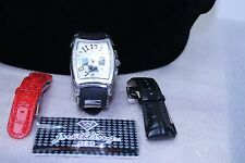 Just Bling Mens Diamond and Stainless Steel Leather and Rubber Strap Watch