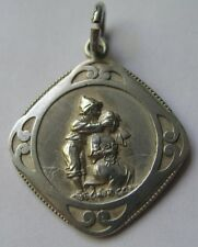ANTIQUE ART NOUVEAU SILVER BOY GIRL PLAYING WHO AM I? GAME SWEETHEART CHARM